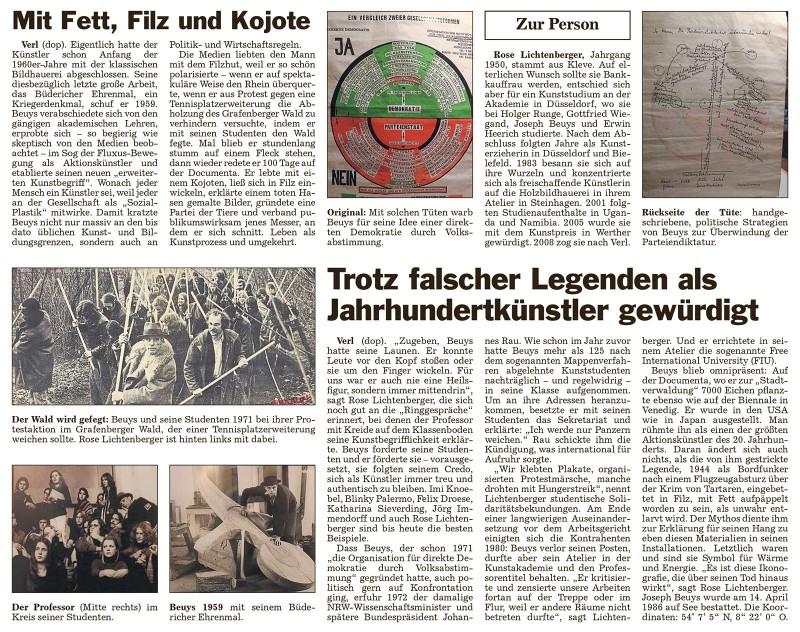 Abbildung: Erinnerungen an den Mythomanen Beuys