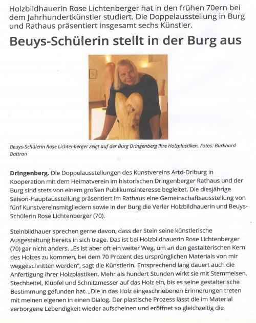 Abbildung: Beuys-Schülerin stellt in der Burg aus