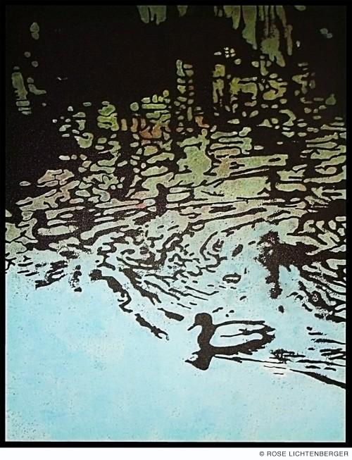 Abbildung: Camouflage V – Enten auf Ibrüggers Teich