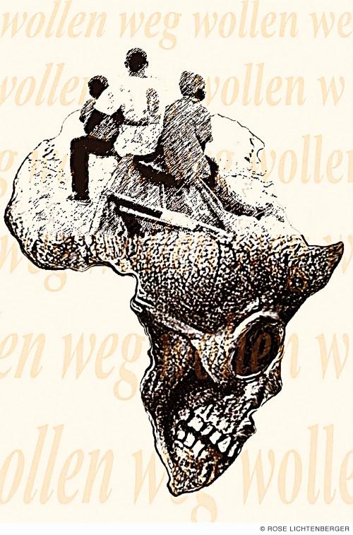 Abbildung: Afrika (Grafiken) III – Boot / wollen weg